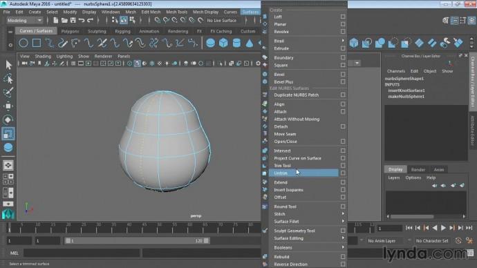 Autodesk Maya: 10 01 Использование изопармы для уточнения NURBS поверхностей - видео