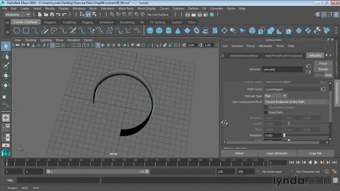 Графика: 09 08 Использование NURBS extrude (Выдавливание) - видео
