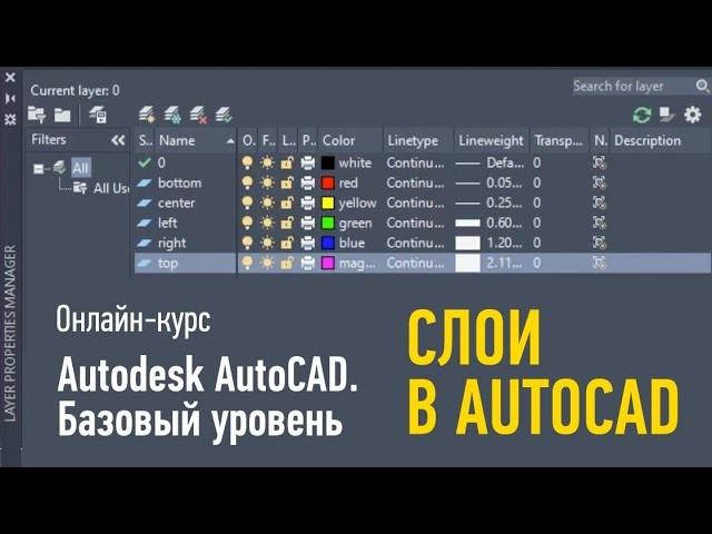 Графика: Autodesk AutoCAD. Базовый уровень. Cлои в AutoCAD. Дмитрий Щербаков - видео