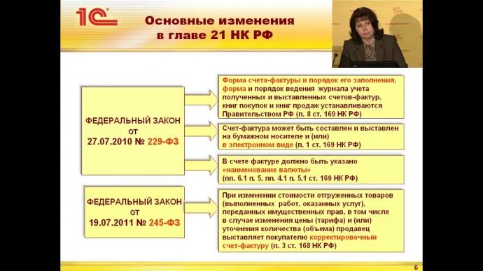ПБУ: Новые счета фактуры и изменения в подсистеме учета НДС в 1СБухгалтерии - видео