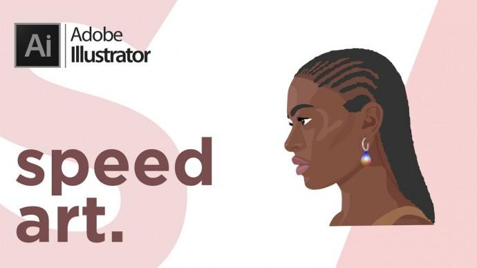 Графика: Adobe Illustrator | Simple Portrait Speed Art | Спид Арт Портрет Градиент | Графическая Илл