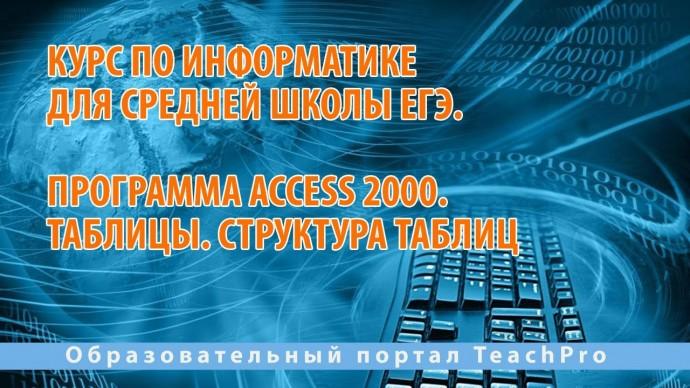 Курс по информатике для средней школы ЕГЭ   Access 2000. Таблицы. Структура таблиц - видео