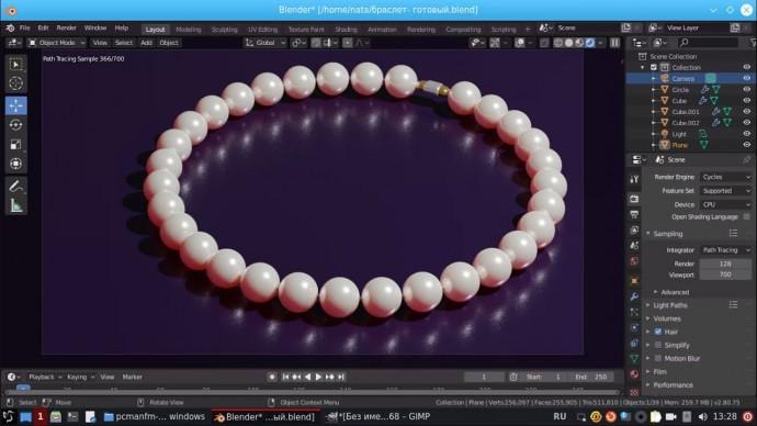 Графика: Жемчужный браслет в Blender. Урок 3D-моделирования - видео